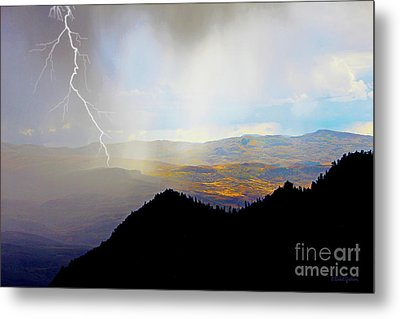 Autumn Twilight Thunderstorm With Lightning  Metal Print by Dale E Jackson