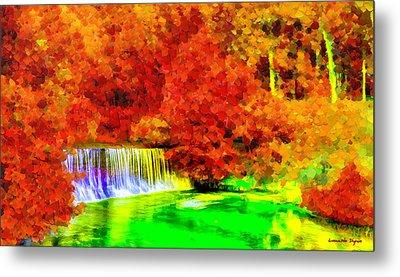 Autumn Waterfall - Da Metal Print by Leonardo Digenio