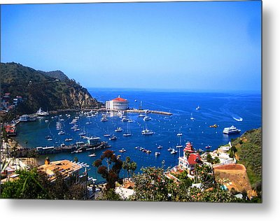 Avalon Harbor At Catalina Metal Print by Catherine Natalia  Roche
