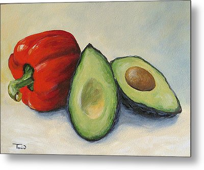 Avocado With Bell Pepper Metal Print