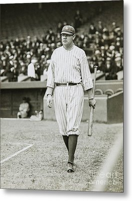 Babe Ruth Going To Bat Metal Print