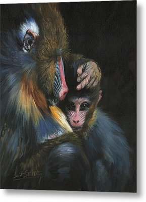 Metal Print featuring the painting Baboon Mother And Baby by David Stribbling