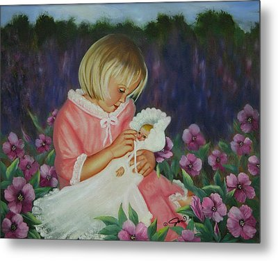 Metal Print featuring the painting Baby  Doll by Joni McPherson