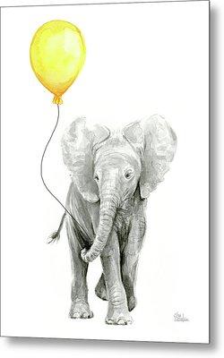 Baby Elephant Watercolor With Yellow Balloon Metal Print by Olga Shvartsur