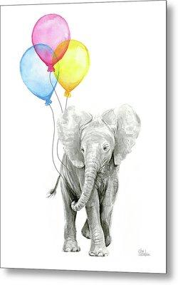 Baby Elephant With Baloons Metal Print by Olga Shvartsur