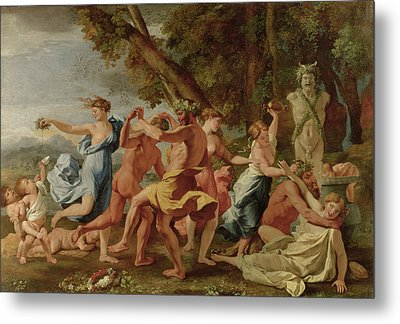 Bacchanal Before A Herm Metal Print by Nicolas Poussin