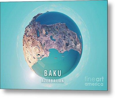 Baku 3d Little Planet 360-degree Sphere Panorama Metal Print by Frank Ramspott
