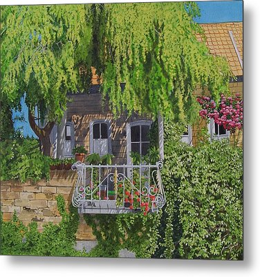 Metal Print featuring the mixed media Balcony With Flowers by Constance Drescher