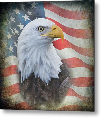 Metal Print featuring the photograph Bald Eagle With American Flag by Angie Vogel