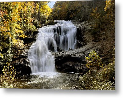 Bald River Falls In Autumn Metal Print by Darrell Young