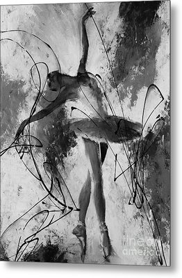 Ballerina Dance Black And White  Metal Print by Gull G