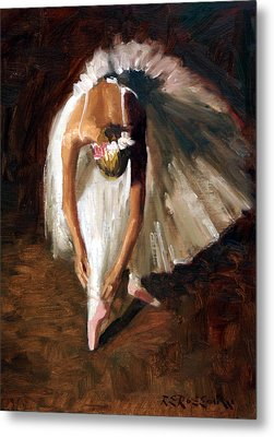 Ballerina With Pink Shoes Metal Print by Roelof Rossouw
