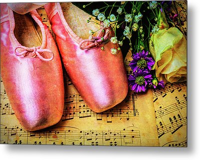Ballet Shoes And Old Sheet Music Metal Print by Garry Gay