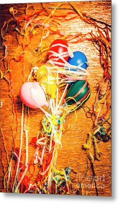 Balloons Entangled With Colorful Streamers Metal Print