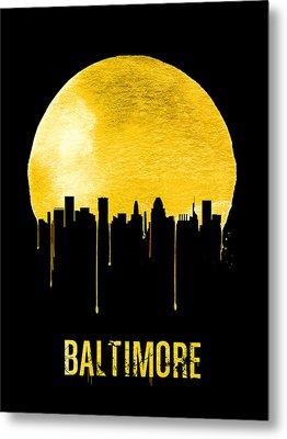 Baltimore Skyline Yellow Metal Print by Naxart Studio