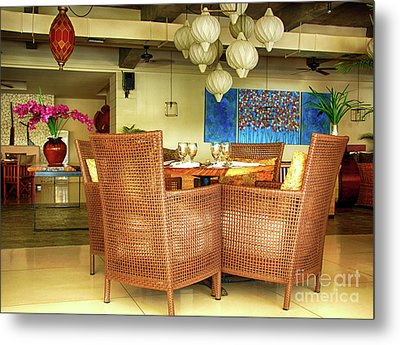 Bamboo Chairs Metal Print by Charuhas Images