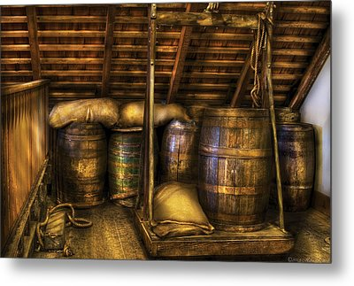 Bar - Wine Barrels Metal Print by Mike Savad