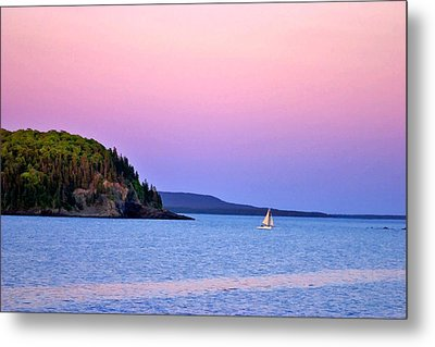Metal Print featuring the painting Bar Harbor Sunset by Larry Darnell