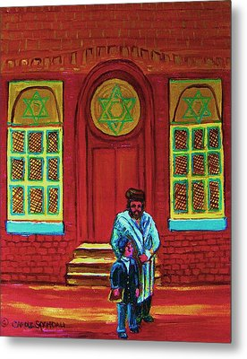 Bar Mitzvah Lesson At The Synagogue Metal Print by Carole Spandau