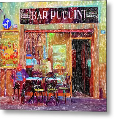 Bar Puccini Lucca Italy Metal Print by Wally Hampton