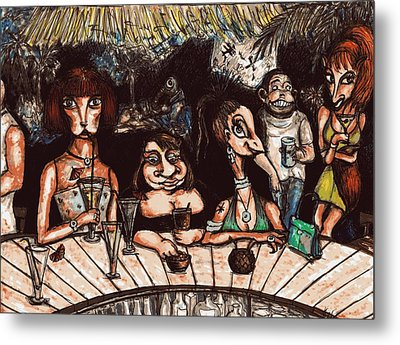 Metal Print featuring the drawing Bar Scene by Rae Chichilnitsky