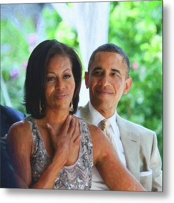 Barack And Michelle Obama Metal Print by Asar Studios