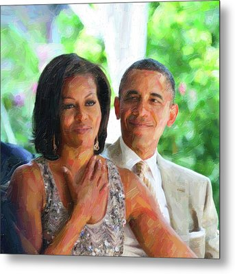 Barack And Michelle Obama Metal Print by Celestial Images