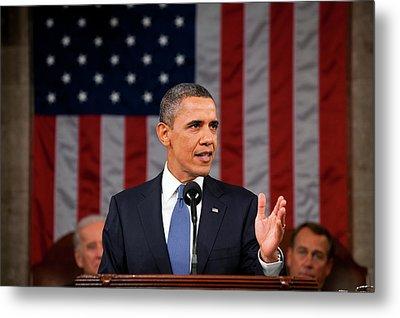 Barack Obama - State Of The Union Address Metal Print