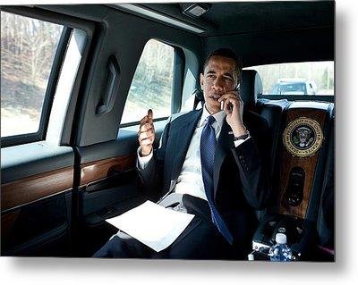 Barack Obama Talks To A Member Metal Print by Everett