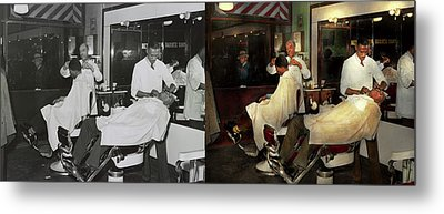 Metal Print featuring the photograph Barber - A Time Honored Tradition 1941 - Side By Side by Mike Savad