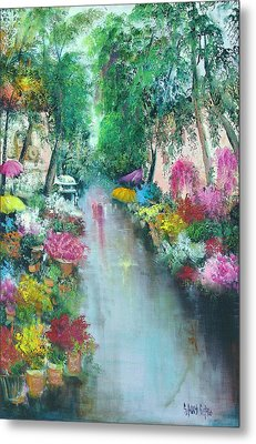 Barcelona Flower Market Metal Print by Sally Seago