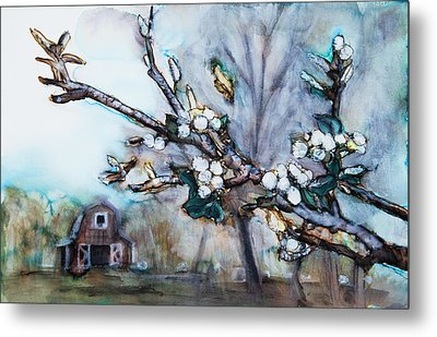 Barn And Blossoms Metal Print by Tara Thelen