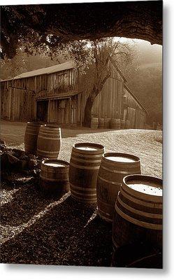 Barn And Wine Barrels 2 Metal Print