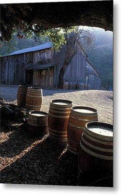 Barn And Wine Barrels Metal Print by Kathy Yates