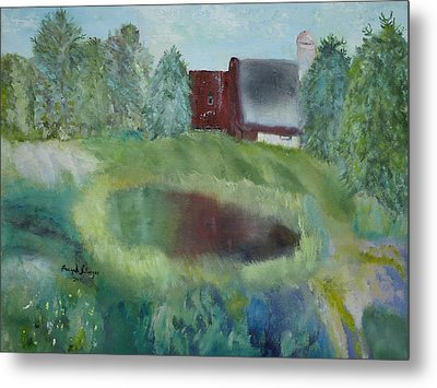 Barn By Pond Metal Print