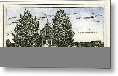 Metal Print featuring the mixed media Barnstable Yacht Club Etching by Charles Harden