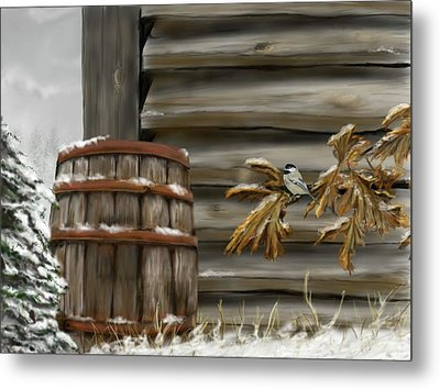 Metal Print featuring the digital art Barnyard Barrel And Chickadee by Darren Cannell