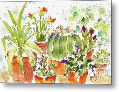 Metal Print featuring the painting Barrel Cactus And His Buddies by Pat Katz