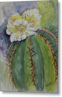 Metal Print featuring the painting Barrel Cactus In Bloom by Marilyn Barton