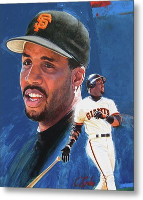 Barry Bonds In The Shadow Metal Print by Cliff Spohn