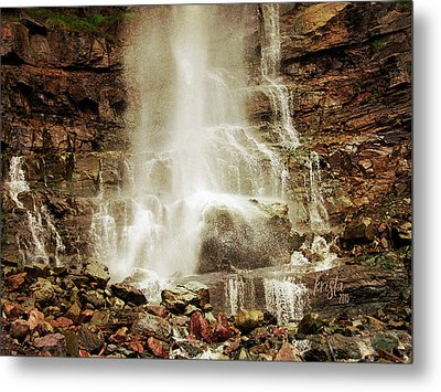 Base Of Cascade Falls Metal Print by Krista-
