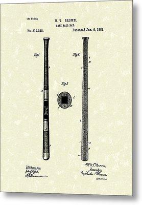 Baseball Bat 1885 Patent Art Metal Print