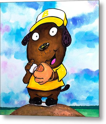Baseball Dog 2 Metal Print