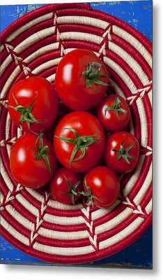 Basket Full Of Red Tomatoes  Metal Print by Garry Gay