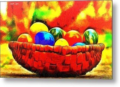 Basket Of Eggs - Da Metal Print by Leonardo Digenio