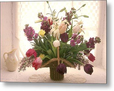 Basket Of Flowers In Window Metal Print by Garry Gay