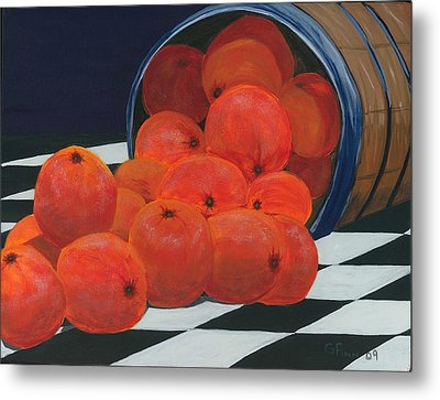 Basket Of Oranges Metal Print