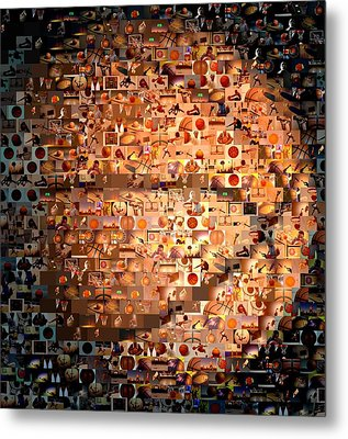 Basketball Mosaic Metal Print by Paul Van Scott