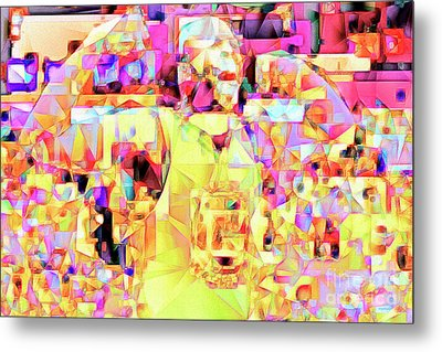 Basketball Power Flex In Abstract Cubism 20170328 Metal Print