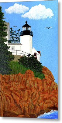 Bass Harbor Head Lighthouse Painting Metal Print by Frederic Kohli